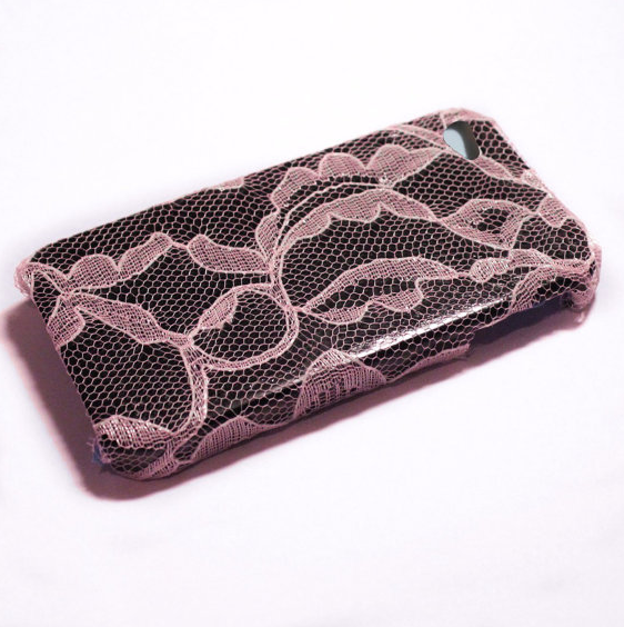 Vanity Light Iphone Case : Light Pink Lace Over Black IPhone 4 Case on Luulla